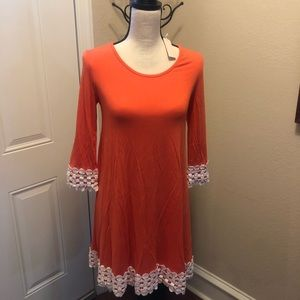 Pink Blush Maternity Dress Coral with Ivory Cuff S